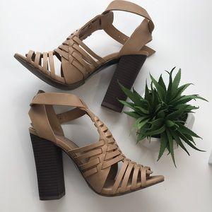 Merona tan woven sandal, wood heel size 5.5